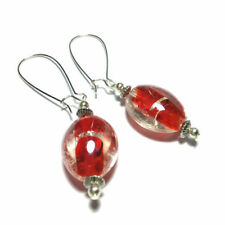 Glass Silver Plated Oval Costume Earrings