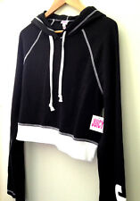 NWT JUICY Juicy Couture Pitch Black Track Cropped Hooded Sweatshirt Top S