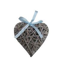 20cm gris en bois osier suspendus coeur shabby chic maison avec ruban bleu spot