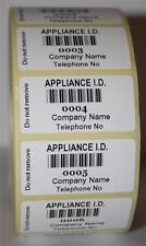 500 Personalised PAT Testing Barcode Appliance ID Labels Asset Stickers