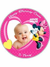 """Personal Picture Minnie Mouse 7.5"""" Round Edible Icing Cake Topper"""