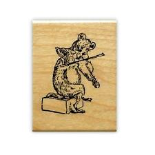 MOUSE VIOLINIST, Music rubber stamp, rat, fiddle, hoedown, scene building #10
