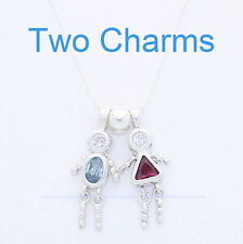 "TWO 2 Silver 925 Birthstone Charm BABY BRAT CHILD Mother Day Boy Girl w18"" Chain"