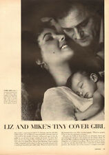 1950s magazine photo-Elizabeth Taylor, Mike Todd & Baby