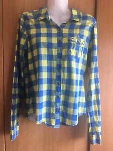 Hollister Ladies Blue Yellow Check Shirt Long Sleeved Size S