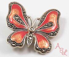 Sterling Silver Vintage 925 Butterfly Pin Enamel & Marcasite Brooch (10g) 745289