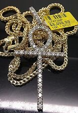 10K Yellow Gold Full Diamond Ankh Charm Pendent And 10K Yellow Gold 22inch Chain