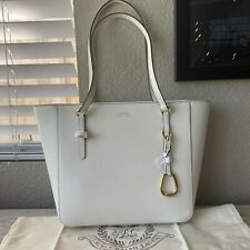 Lauren By Ralph Lauren Bennington Leather Shopper Tote Handbag Cream Purse White