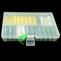 Clear AA/AAA Plastic Battery Storage Case/Organizer/Holder Holds 48 AA Batteries
