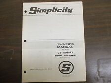 "Simplicity 32"" Snow thrower blower owners & parts manual Model# 882"