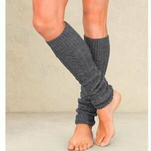 Athleta Isle Leg Warmers Cable Knit Gray One Size Retail $48