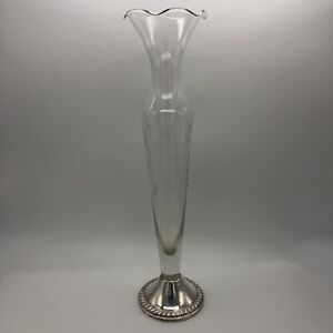 Duchin Etched Glass Bud Vase Sterling Silver Weighted Base 10 Inch Ruffled Rim
