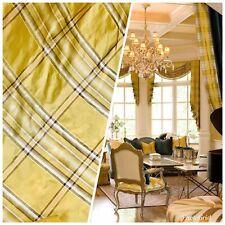 NEW Designer 100% Silk Taffeta Plaid Tartan Fabric- Yellow BY The Yard