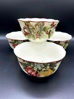 222 Fifth YULETIDE CELEBRATION Porcelain Soup/Cereal Bowls SET OF 4 Mint!