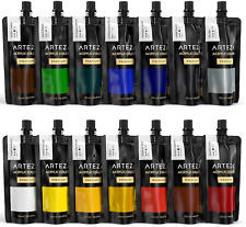 Arteza Acrylic Paint Set, 14 Colours/Pouches, 120 ml/4.06 oz., with Storage Box,