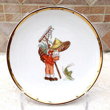 "Whimsical Bavaria Germany 7 3/4"" Plate w/ Gold Trim-Gardening Girl + Grasshopper"