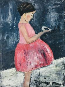 8x10 Print - Child Blue Chickadee Bird Figure Painting Print Katie Jeanne Wood