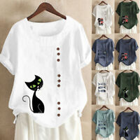 Womens Casual Loose Button Linen Plus Size Daily Boho Tanic T-shirt Blouse Tops