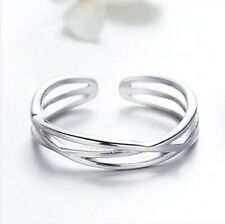 Ring doppelt Ehering Effekt geflochten 925 Sterling Silber//1000 T50 à 64
