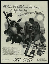 1944 OLD GOLD Cigarettes - WWII Soldier & Pretty Woman - Moonlight - VINTAGE AD