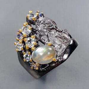 Fine Art Jewelry Labradorite Ring Silver 925 Sterling  Size 6.5 /R171919