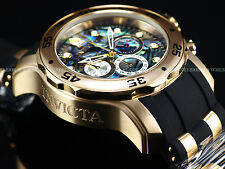 Invicta Mens 48mm Special Ed. Scuba ABALONE DIAL Quartz Chrono 18K Gold IP Watch