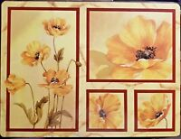"Set of 4 Floral Placemats 15.625"" x 11.75"" Cork Backed Yellow Flowers"
