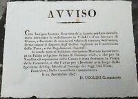 1827 248) AVVISO SU APERTURA DEL MERCATO DI CIBO E BESTIAME DI PALAIA NEL PISANO