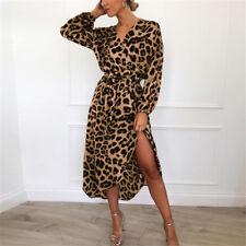 UK Womens Leopard Print Shirt Dresses Ladies Evening Party Club Split Midi Dress