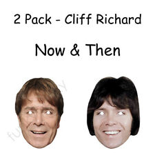 2 Pack -Cliff Richard Now & Then Celebrity Card Mask Masks 1970s / 80s  Pre-Cut!