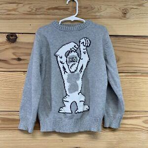 Gymboree Boys Sweater Small 5-6 Yeti Snow Monster Crew Neck Gray Pullover B63