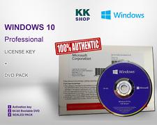 MICROSOFT WINDOWS 10 PROFESSIONAL 64Bit DVD DISK & ACTIVATION KEY PACK