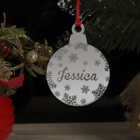 Personalised Christmas Tree Decoration Xmas Bauble Ornament Name Gift Snowflakes