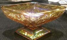Vintage Carnival Glass Indiana Glass Diamond Shaped Amber Pedestal Serving Bowl