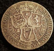 1900 Queen Victoria Jubilee Head .925 VF Silver Florin Coin Lot F1