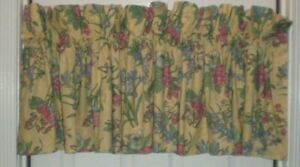 """Croscill Home Valance Poppies Jonquils Iris Floral Lined Yellow 88""""W 2 avail USA"""