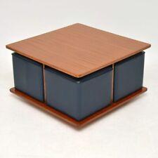 TEAK RETRO COFFEE TABLE WITH FOUR NESTING STOOLS VINTAGE 1960's