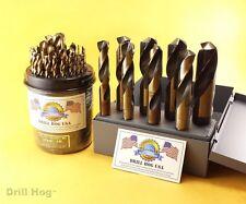 "37 Pc Silver & Deming Drill Bits Cobalt Drill BIts M42 1/16"" to 1"" Drill Hog USA"