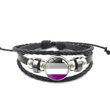 Asexual Adjustable Leather & Glass Cabachon Wristband