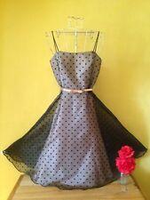 Size 8 rockabilly vintage 50's look spotty polka dot pink black bow belted dress
