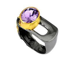 Amethyst lila vergoldet geschwärzt Design Ring Ø 18,0 mm 925 Sterling Silber neu