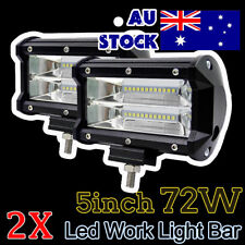 2X 5inch CREE LED Work Driving Light Bar Flood Beam Offroad Boat Truck 12V-24V
