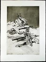 DDR-Kunst 1987. Kaltnadelradierung Christine PERTHEN (1948-2004 D), handsigniert