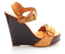 Giuseppe Zanotti Brown Leather Buckle Strap Wedges Size 37
