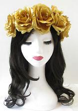 Large Gold Rose Flower Hair Crown Headband Halloween Sugar Skull Costume T22