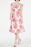 New Calvin Klein Off-The-Shoulder Fit Midi Dress White Red CD9C47M3 size 14 $134