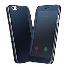 Etui Housse Coque Clear s-View Cover miroir Bleu pour Apple Iphone 7