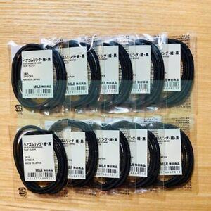 MUJI HAIR RUBBER-RING THIN BLACK/ THIN BROWN (3 pcs/ 1 Set) x 10 - Color Select