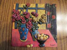 "Dougall  -  Decorative Ceramic 3D Art Tile Wall Hanging  -  ""Roses""  Still Life"