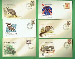 #SS.  #1.  SIX  1960s  ROYAL / WCS ENVELOPE COVERS - AUSTRALIAN ANIMALS & PLANTS